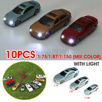10pcs Mixed Color HO Scale Model Car W/ LED Light Building Train Scenery Plastic