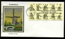 """1742a BOOKLET PANE of 10 WINDMILLS FDC  LUBBOCK, TX COLORANO """"SILK"""" CACHET"""