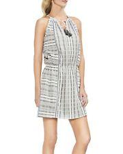 VINCE CAMUTO Ivory Large Striped Tassel Tie Mini Dress FASHION HAVEN