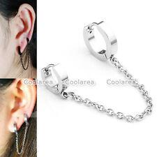 1pc Men Women Steel Double Hoop Huggie Slave Chain Tassel Earrings Ear Cuff Stud