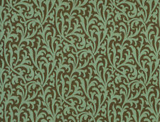 2 ROLL LOT -  Coral Teal Green small Scroll Chocolate Brown Copper Wallpaper
