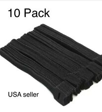 "10 VELCR Brand Ties Cable Cord Organizer Wraps Reusable Die Cut Straps 6"" Black"