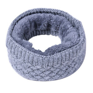 Winter Neck Warmer Soft Fleece Lined Thick Knit Windproof Cozy Circle Scarf