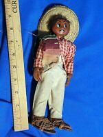"Folk Art Antqiue-VTG Doll Man Sombrero World Latin America 9"" Handpainted"