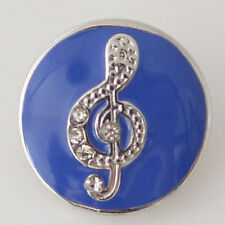 Noosa Chunks Ginger Style Snap Button Charms Music Treble Cleft Note Blue 20mm
