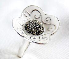 Genuine Marcasite & Enamel Ring in 925 Sterling Silver Size 7