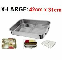 XL ROASTING TRAY STAINLESS STEEL TRAYS OVEN PAN DISH BAKING ROASTER TRAY GRILL