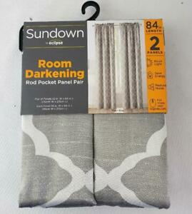 "-= Eclipse Sundown Room Darkening Rod Pocket Panel Pair Gray 52"" x 84"" NEW"