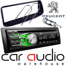 PEUGEOT 206 JVC CD MP3 AUX Verde visualizzazione Stereo Auto Radio Lettore & Kit di montaggio