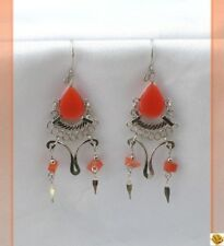 Boucles D'oreilles Tada Perle Oeil de Chat Orange Argent d'alpaca du Pérou