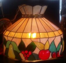 Vintage Tiffany Style Stained Leaded Hanging Swag Glass Lamp Multi-Color Fruit