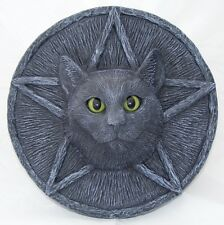 CAT PLAQUE PENTACLE Garden Stone Wall Black Pagan Wiccan LIFE SIZE Ornament UK