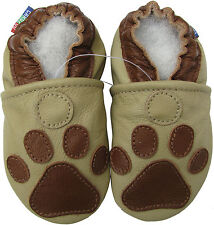 carozoo soft sole leather baby shoes paw grey 2-3y