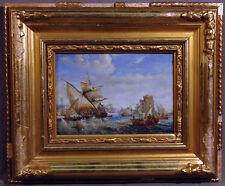 20th Century Orientalist Naval Battle Ocean Scene Oil Painting