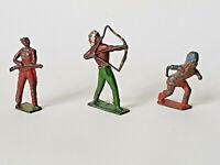 BRITAINS Timpo Crescent Era x3 METAL RED INDIAN FIGURES 50-70s FAIR CONDITION