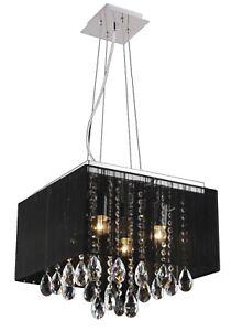 Crystal Flush Pendant Ceiling Light, E14 4 Lights Black Fabric Cover, RRP:£87