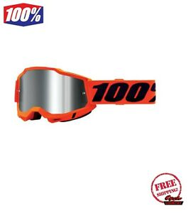 100% ACCURI GEN 2 MEN'S DIRT MX OFFROAD GOGGLE ORANGE WITH SILVE MIRROR