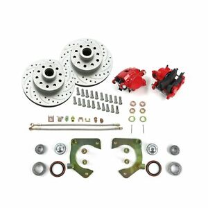"Mustang II IFS 11"" Front Disc Conversion Kit Red GM D154 Calipers GM Ford 5 Bolt"