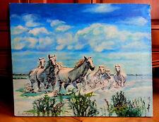 """Magnifique huile sur toile """"Chevaux au galop"""", signée Vendittelli - Ft 50 X 40,5"""