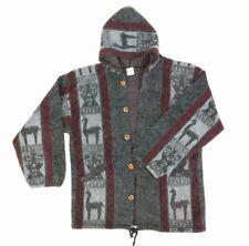 Heavy Hooded Jacket Handmade Otavalo Ecuador Llama Alpaca Wool Polyester Size L