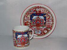 Vintage POTTERY HOUSE 8oz. Milk Mug & Cookie Plate Set Holiday Christmas JAPAN