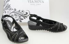 VIA NOVA SIZE 7 AUST 38 EURO WEDGED HEEL OPEN TOE SANDALS SHOES BLACK