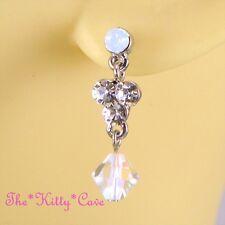 Vintage Deco Aurora Sparklling Silver Drop Earrings w/ Opal Swarovski Crystals