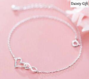 """Women Girl 925 Sterling Silver Heart Infinity Love Chain Anklet Bracelet 8-9.2"""""""