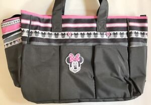 Diaper Bag + Bottle & Pacifier Tote Minnie Mouse Gray Pink White Stripes New