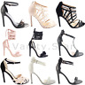 NEW WOMENS LADIES STILETTO MID HIGH HEELS PEEP TOE STRAPPY SANDALS SHOES SIZE
