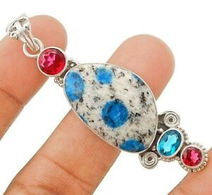 Natural K2 Blue Azurite 925 Solid Genuine Sterling Silver Pendant Jewelry CT25-1