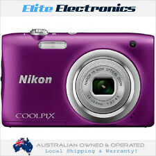NIKON A100 PURPLE COOLPIX DIGITAL COMPACT CAMERA 20.1MP 5X ZOOM F/3.2-6.5