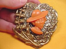 (CA3-9) RARE African-American LADY Church Hat orange CAMEO Pin/Pendant JEWELRY