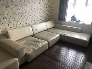 "B&B Italia ""Andy"" Cream Leather Large 3-Seat L Shape Sofa & Chase Retail £24,995"