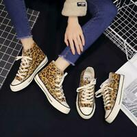 Leopard Print High Low Top Sneakers Women Canvas Lace Up Flat Shoes Casual Haihk