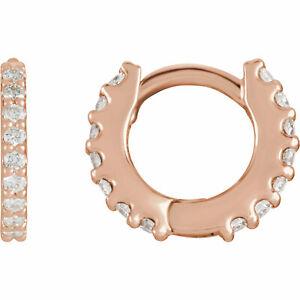 Diamond Hoop Earrings In 14K Rose Gold (1/4 ct. tw