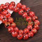 Hot 30pcs 10mm Round Loose Glass Spacer Beads Findings Red Colorized Dots