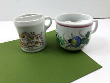 2 Vintage Shaving Mustache Mugs Cup - Floral Flowers Ceramic
