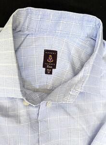 ROBERT TALBOTT Estate, all Cotton Shirt, Light Blue/White Plaid, Mens 16 1/2-35