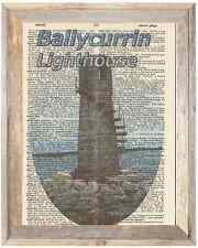 Ballycurrin Lighthouse Ireland Altered Art Print Upcycled Vintage Dictionary