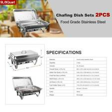 Catering Pans Chafer Chafing Dish Sets 9L/8Q 2Pack Stainless Steel Rectangular