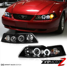Dual CCFL Halo Angel Eye Projector Black Headlight Lamp Ford Mustang 99-04 GT