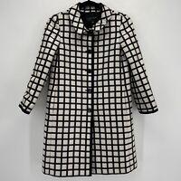 Ann Taylor Black and White Windowpane Check Jacquard Topper Dress Coat New XS