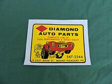 "1 Vintage Diamond Auto Parts Mt Pleasant Pa 3 1/2"" x 4 3/4"" Racing Sticker/Decal"