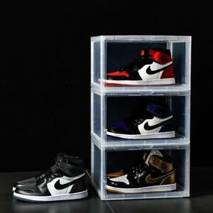 Premium Stackable Sneaker Display Storage Shoe Box Container Black and Clear