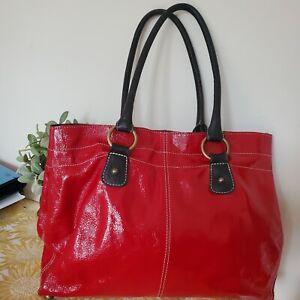 Boden Patent Leather Large Red Tote Shoulder Bag