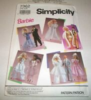 "SIMPLICITY PATTERN 11 & 1/2"" BARBIE DOLL FORMAL CLOTHES 7362 UNCUT 1991"
