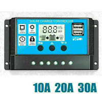 Solar Charge Controller Panel Battery Regulator 12/24V Auto Dual USB 10/20/30A