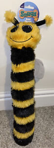 BEE PLUSH DOG TOY SQUEAKY GIFT PRESENT LONG BLACK AND YELLOW