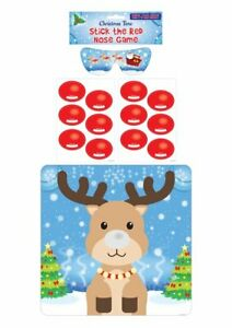 STICK THE RED NOSE ON THE REINDEER CHRISTMAS GAME BLINDFOLD PARTY GAMES KIDS NEW